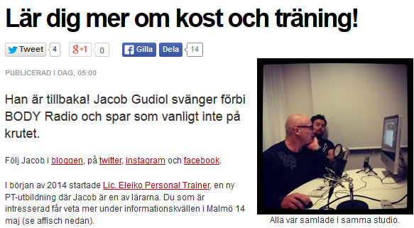 Jacob Gudiol är med i BODY-radio